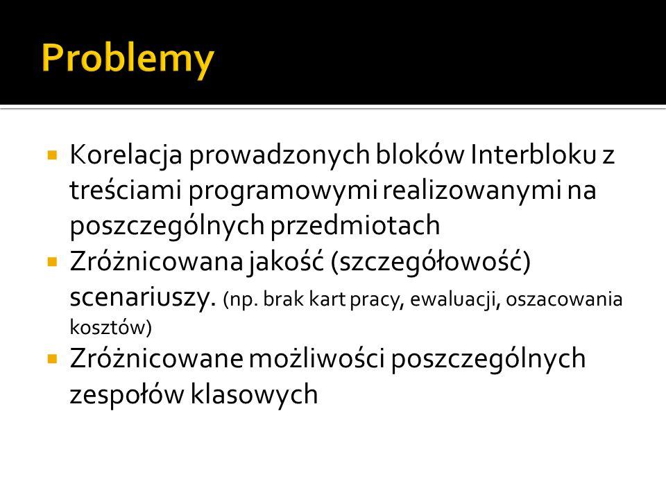Problemy Korelacja prowadzonych bloków Interbloku z treściami programowymi realizowanymi na poszczególnych przedmiotach.