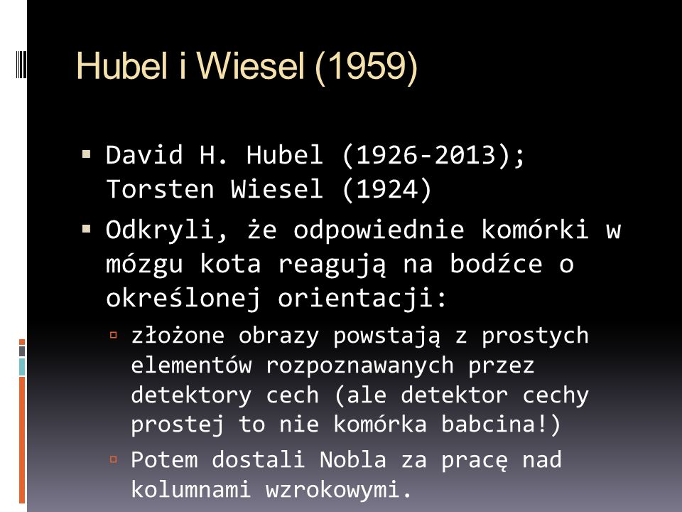Hubel i Wiesel (1959) David H. Hubel (1926-2013); Torsten Wiesel (1924)