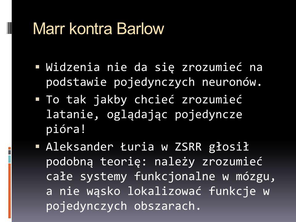 Marr kontra Barlow Widzenia nie da się zrozumieć na podstawie pojedynczych neuronów.