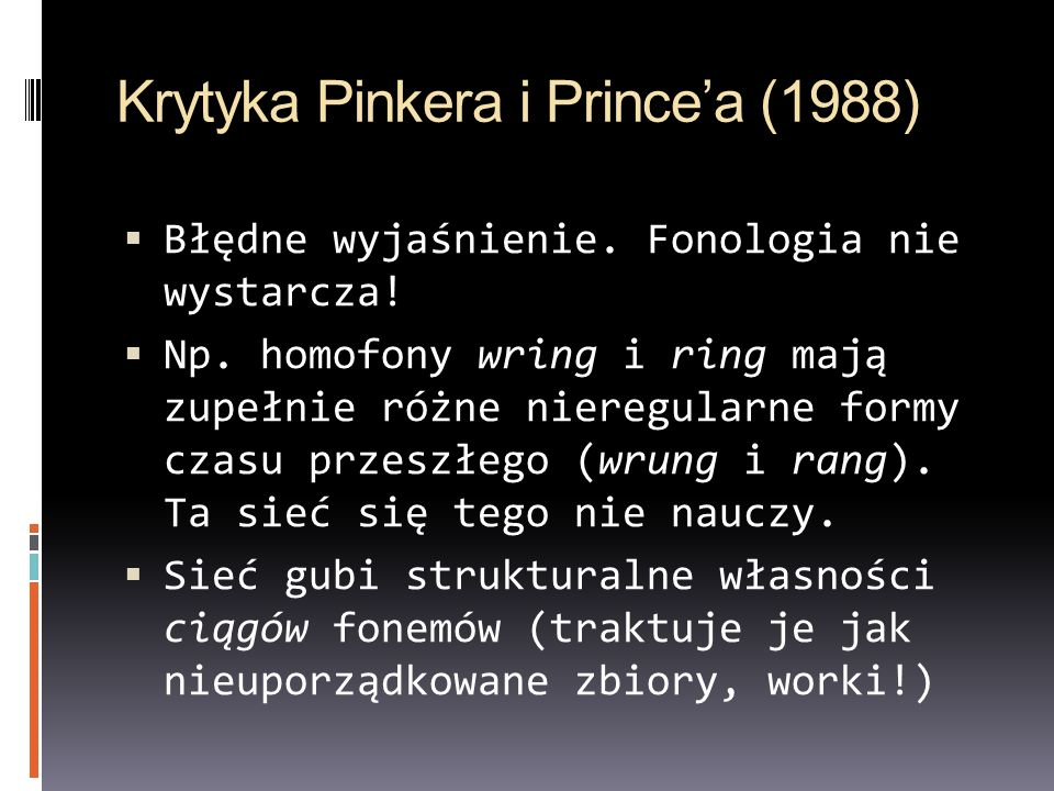 Krytyka Pinkera i Prince'a (1988)