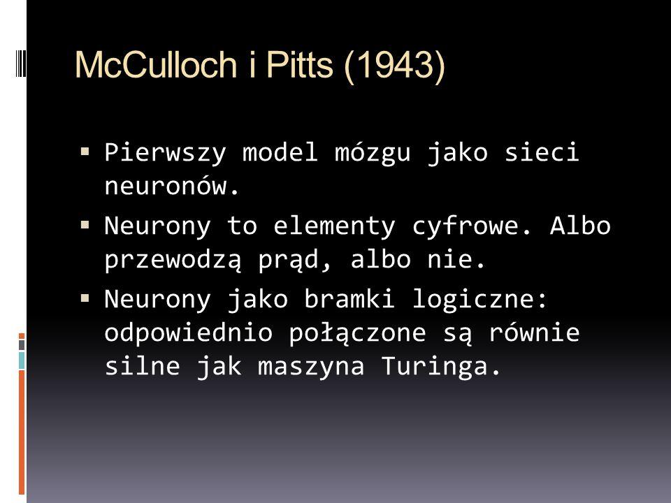 McCulloch i Pitts (1943) Pierwszy model mózgu jako sieci neuronów.