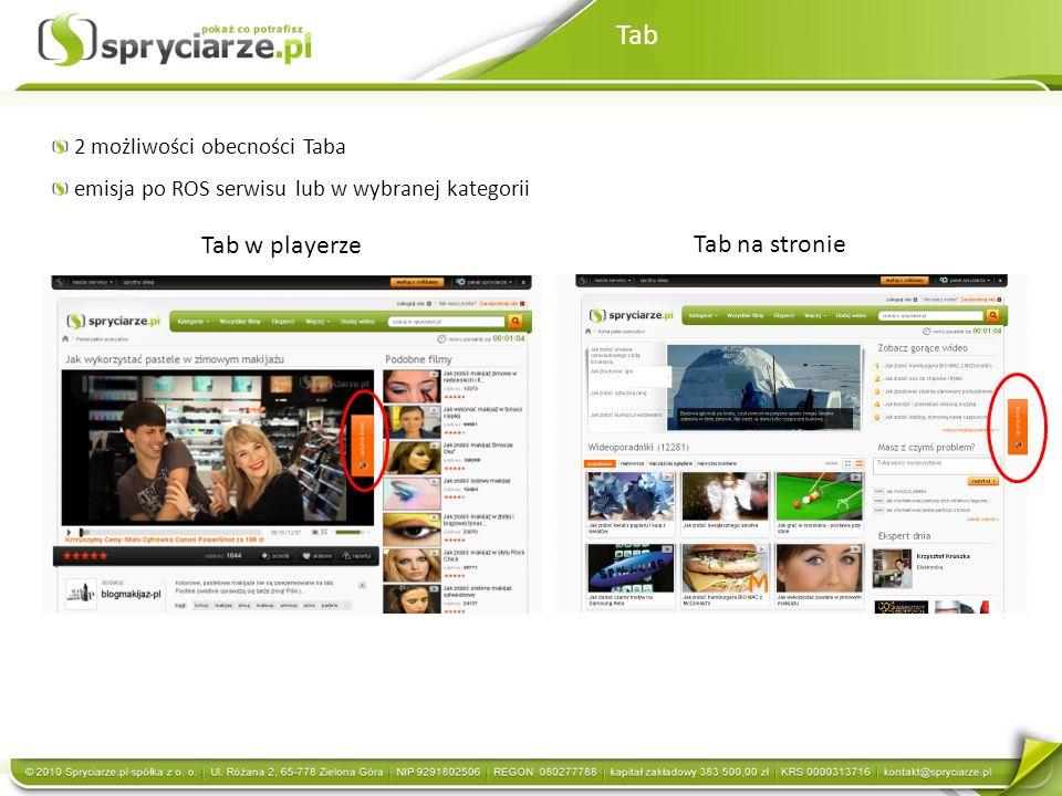 Tab Tab w playerze Tab na stronie 2 możliwości obecności Taba