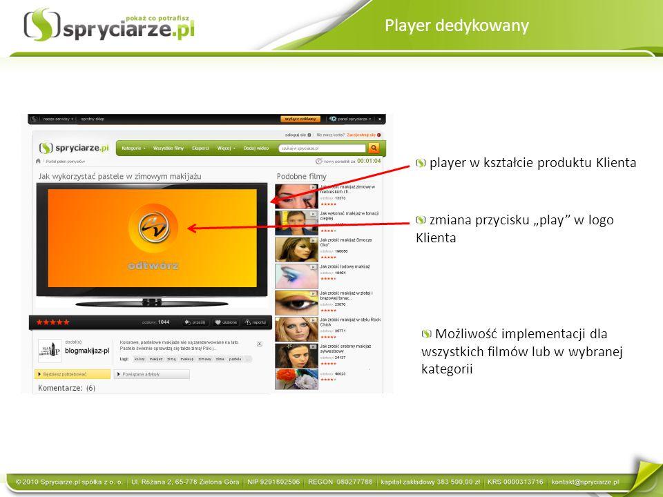 Player dedykowany player w kształcie produktu Klienta