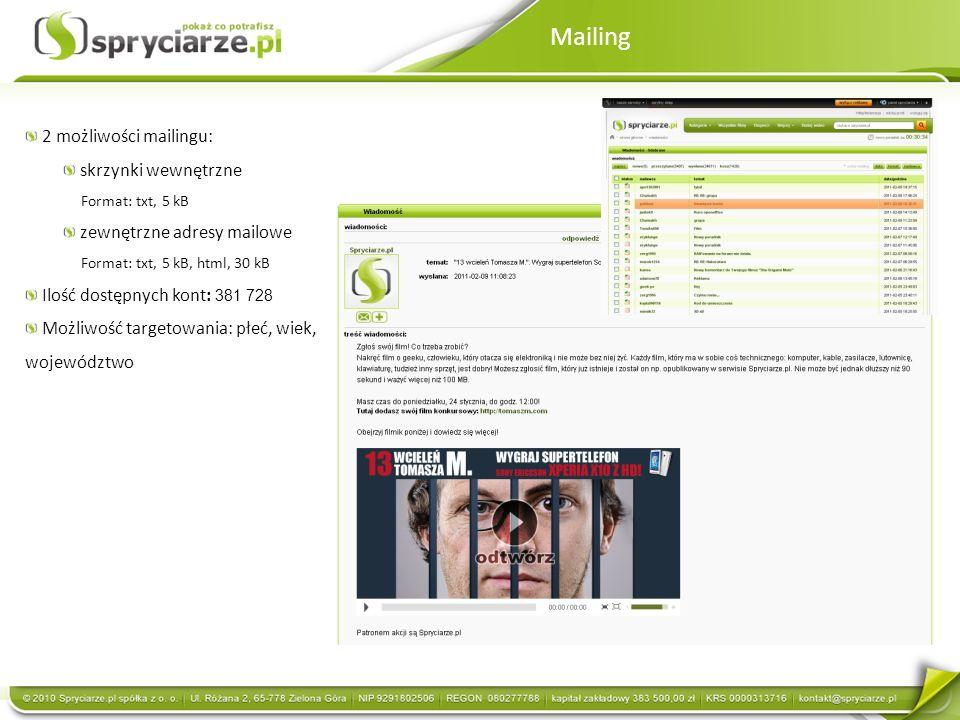 Mailing 2 możliwości mailingu: skrzynki wewnętrzne