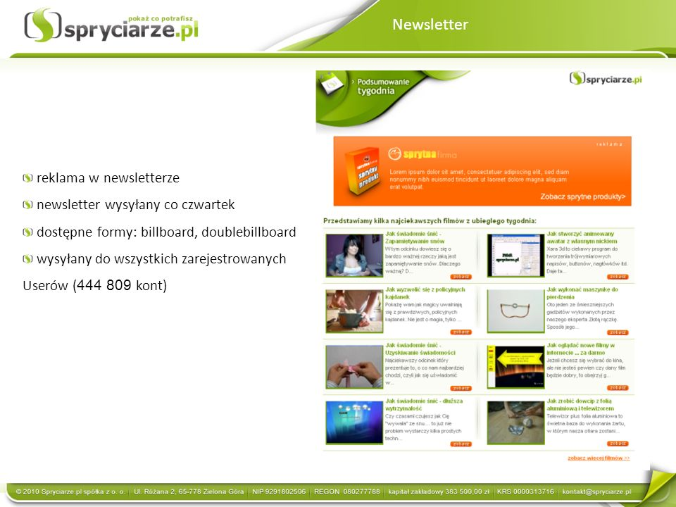 Newsletter reklama w newsletterze newsletter wysyłany co czwartek