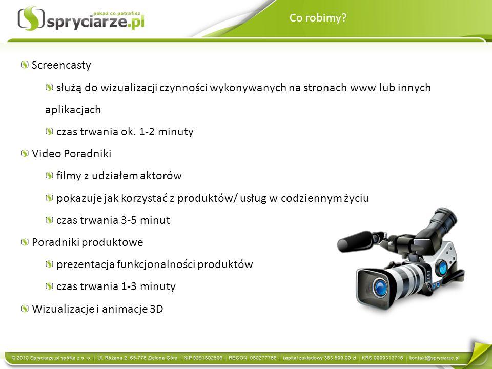 Co robimy Screencasty. służą do wizualizacji czynności wykonywanych na stronach www lub innych aplikacjach.