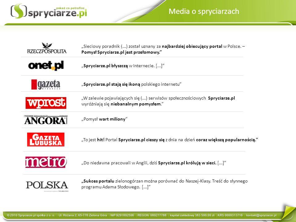 """Media o spryciarzach """"Sieciowy poradnik (...) został uznany za najbardziej obiecujący portal w Polsce. – Pomysł Spryciarze.pl jest przełomowy."""