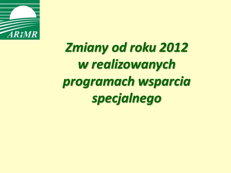 Zmiany od roku 2012 w realizowanych programach wsparcia specjalnego