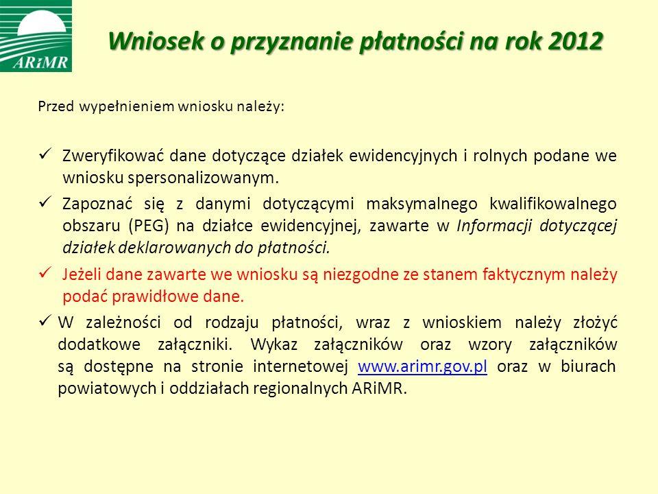 Wniosek o przyznanie płatności na rok 2012