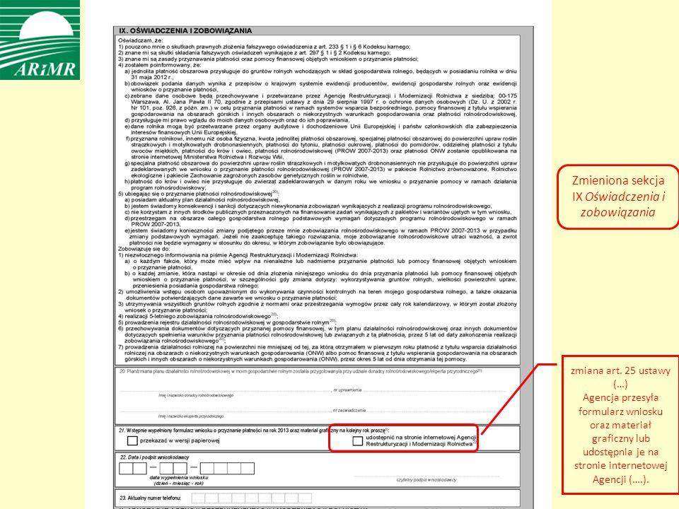 Zmieniona sekcja IX Oświadczenia i zobowiązania