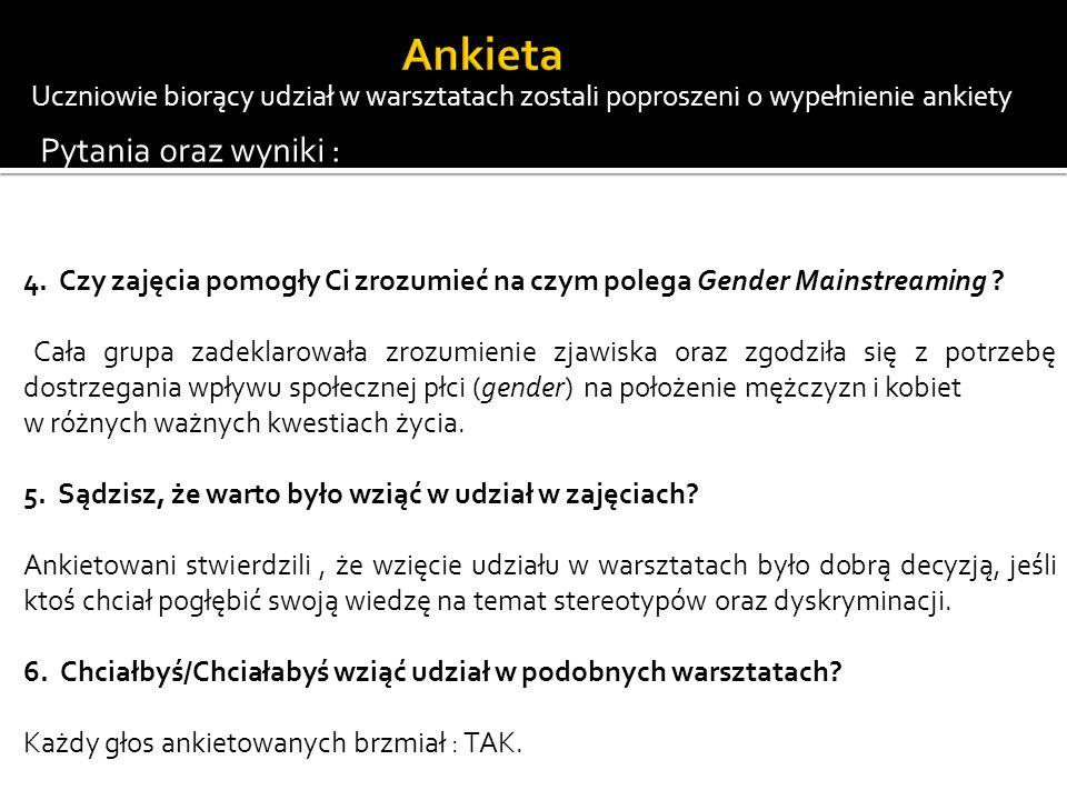 Ankieta Pytania oraz wyniki :