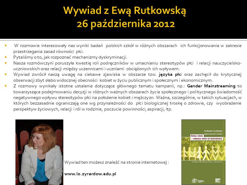 Wywiad z Ewą Rutkowską 26 października 2012