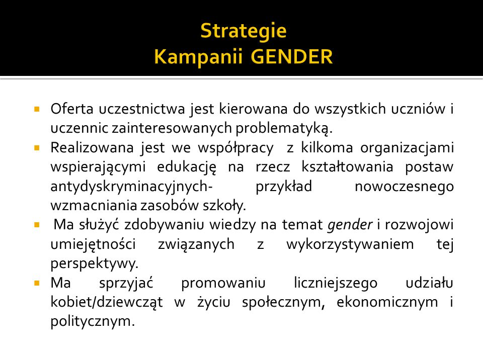 Strategie Kampanii GENDER