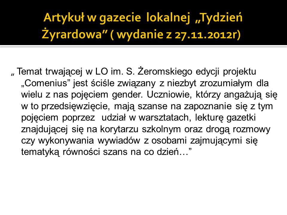 """Artykuł w gazecie lokalnej """"Tydzień Żyrardowa ( wydanie z 27. 11"""