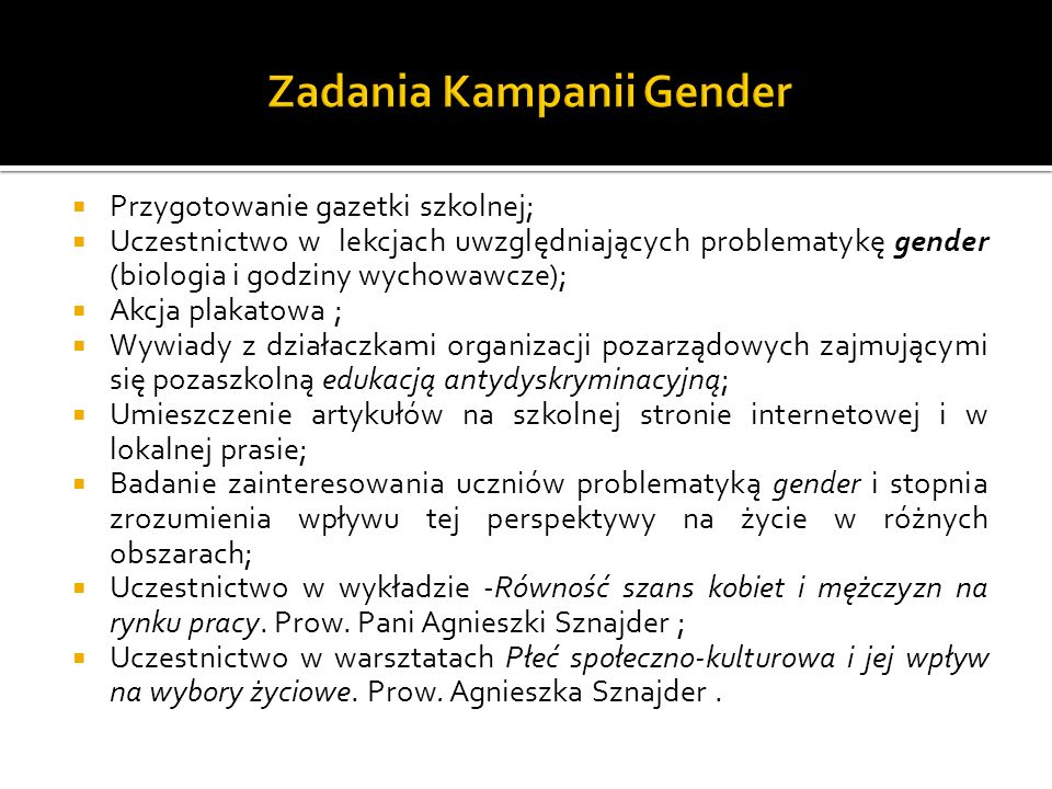 Zadania Kampanii Gender