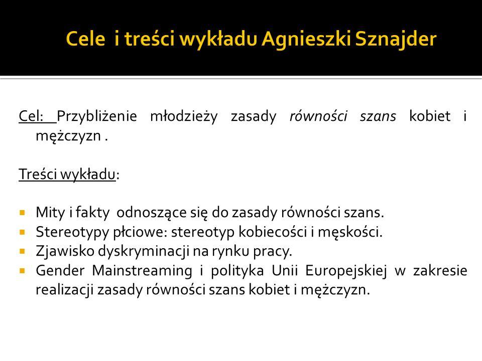 Cele i treści wykładu Agnieszki Sznajder