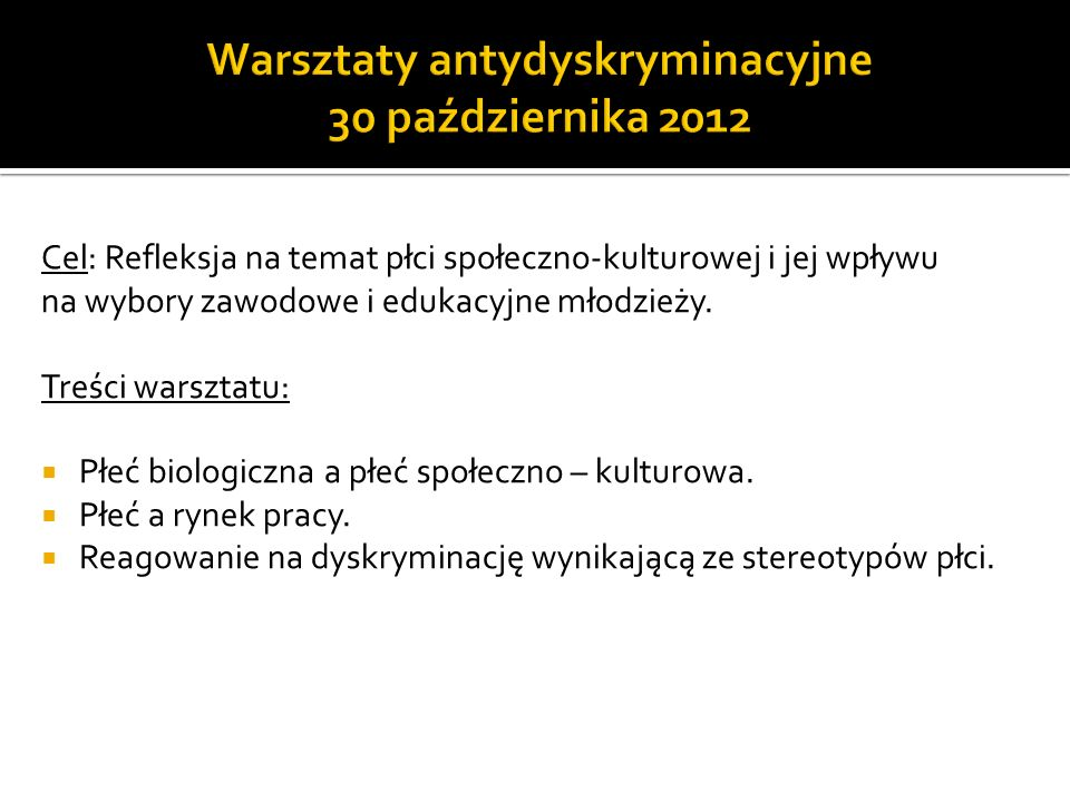 Warsztaty antydyskryminacyjne 30 października 2012