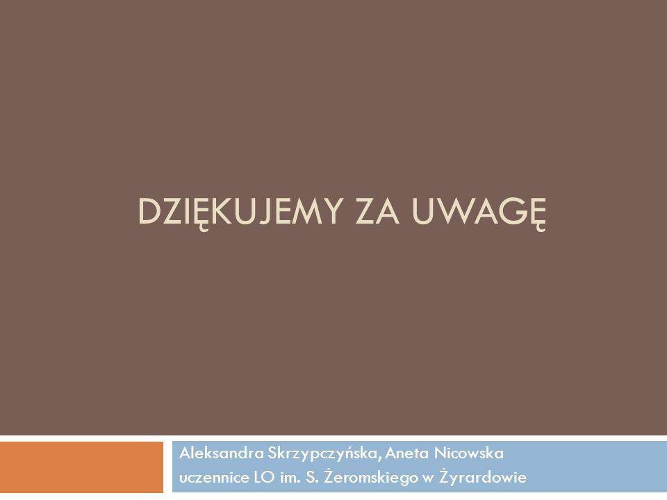 Dziękujemy za uwagę Aleksandra Skrzypczyńska, Aneta Nicowska