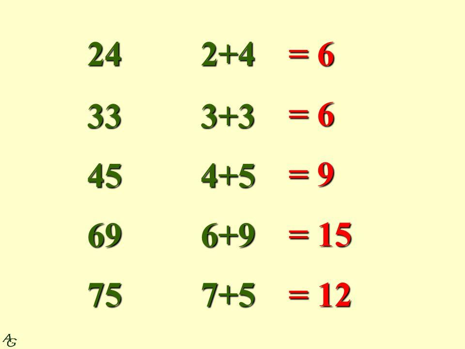 24 33 45 69 75 2+4 3+3 4+5 6+9 7+5 = 6 = 9 = 15 = 12