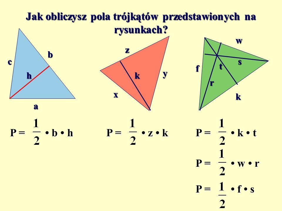 Jak obliczysz pola trójkątów przedstawionych na rysunkach