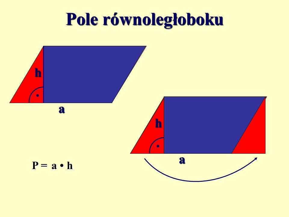 Pole równoległoboku h a h a P = a • h