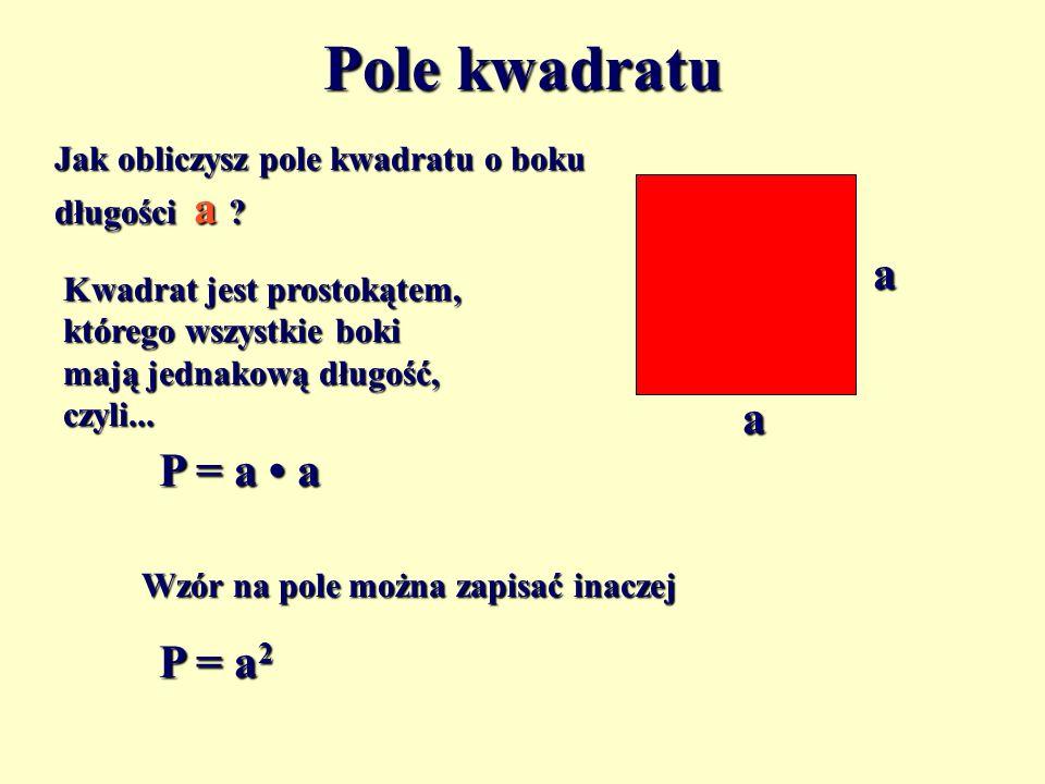 Pole kwadratu a a P = a • a P = a2