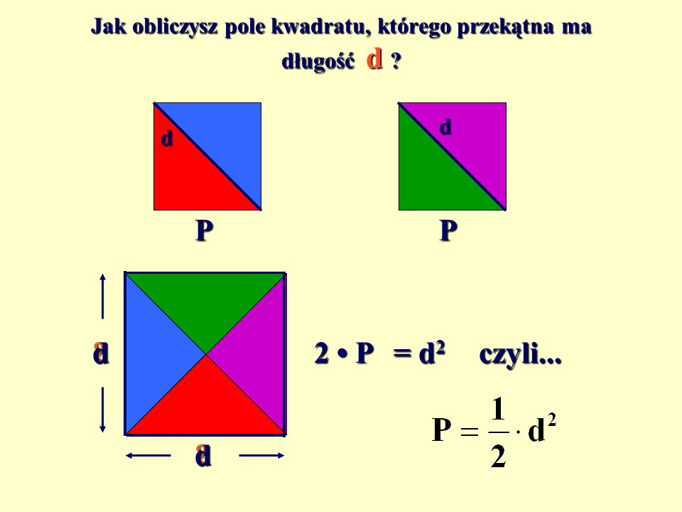Jak obliczysz pole kwadratu, którego przekątna ma długość d