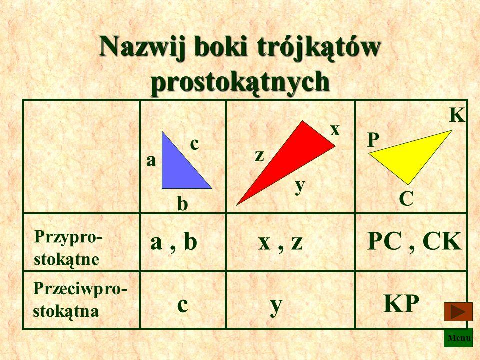 Nazwij boki trójkątów prostokątnych