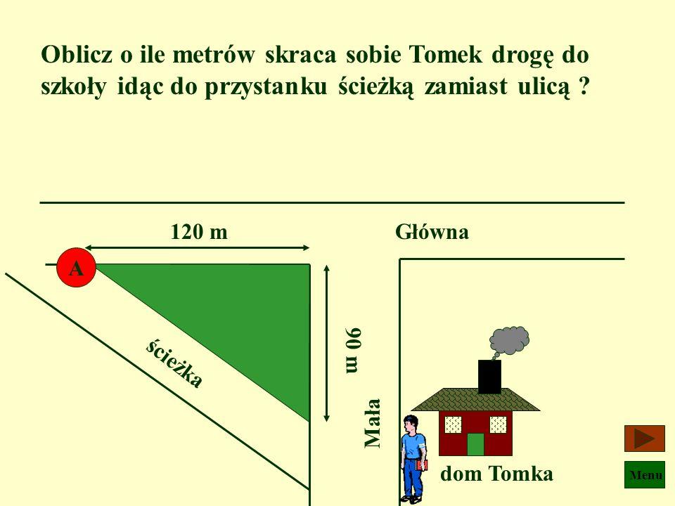 Oblicz o ile metrów skraca sobie Tomek drogę do szkoły idąc do przystanku ścieżką zamiast ulicą
