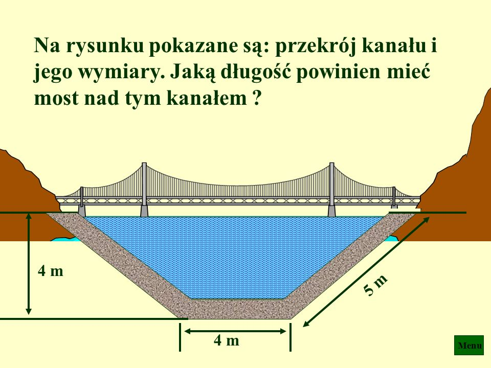 Na rysunku pokazane są: przekrój kanału i jego wymiary