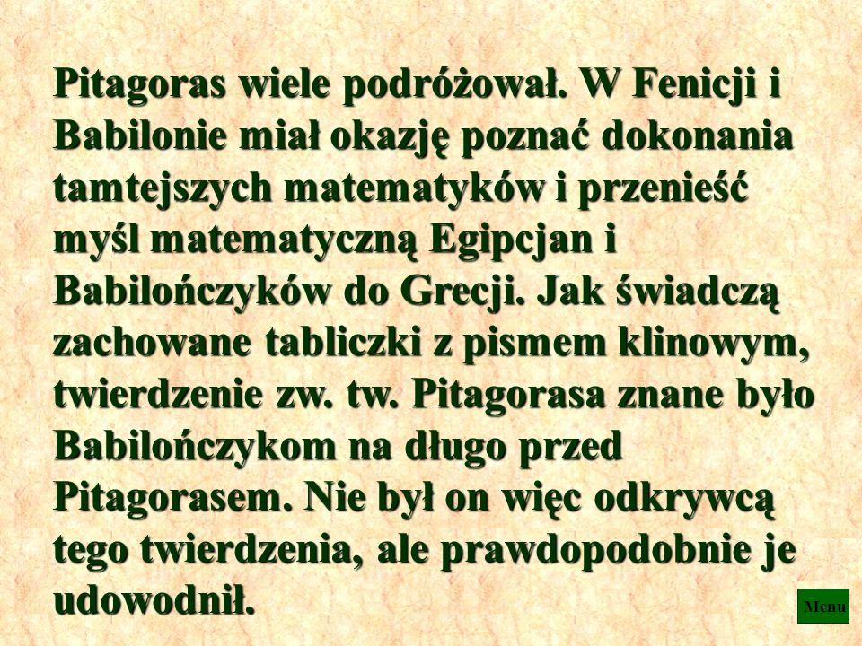 Pitagoras wiele podróżował