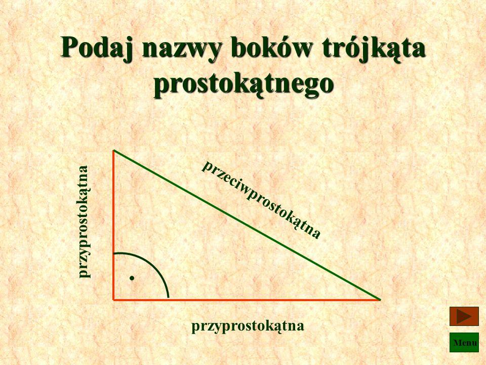 Podaj nazwy boków trójkąta prostokątnego