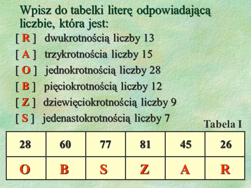 Wpisz do tabelki literę odpowiadającą liczbie, która jest: