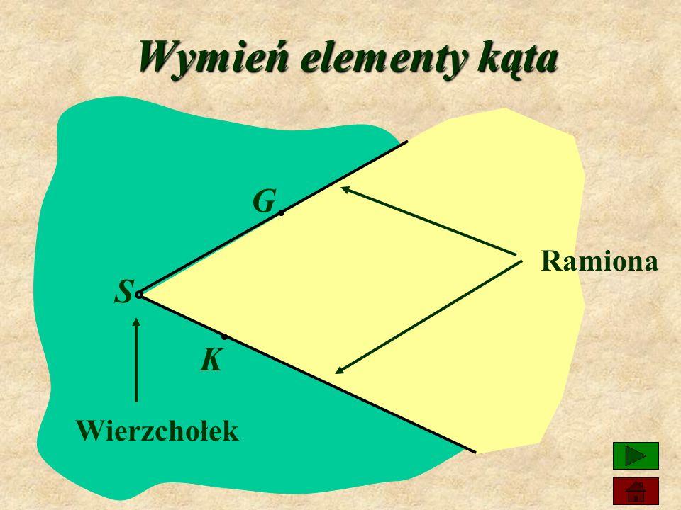 Wymień elementy kąta G S K Ramiona Wierzchołek