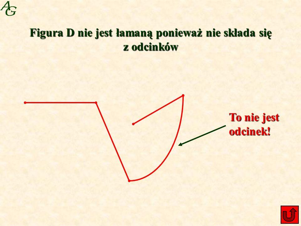 Figura D nie jest łamaną ponieważ nie składa się z odcinków