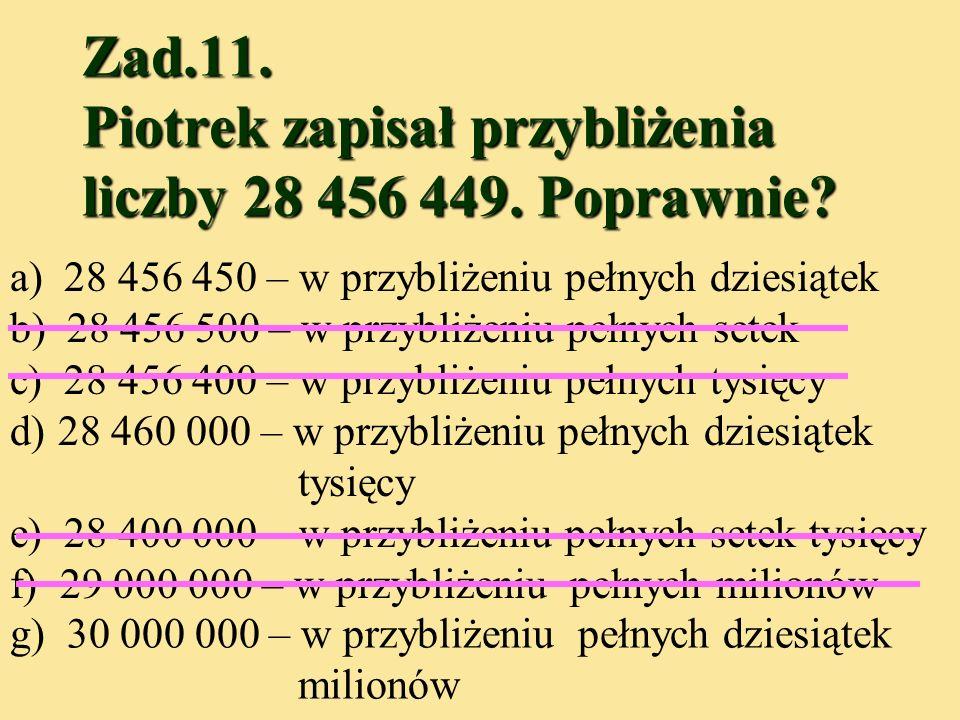 Zad.11. Piotrek zapisał przybliżenia liczby 28 456 449. Poprawnie