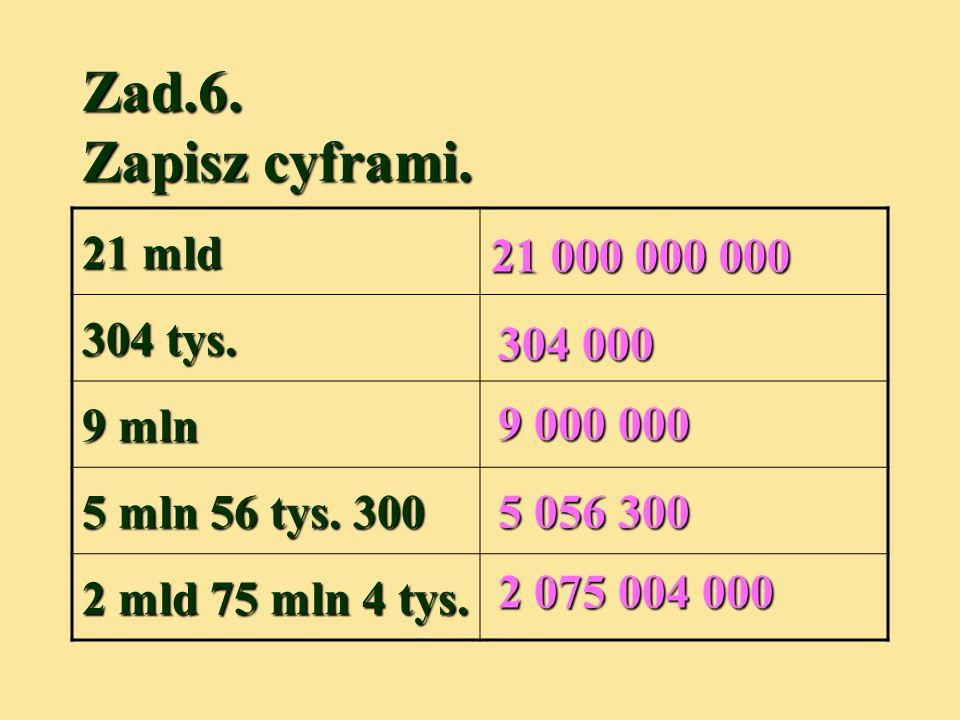 Zad.6. Zapisz cyframi. 21 mld 304 tys. 9 mln 5 mln 56 tys. 300