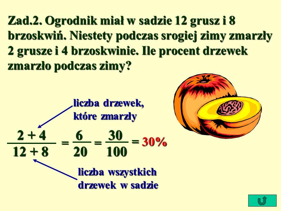 Zad. 2. Ogrodnik miał w sadzie 12 grusz i 8 brzoskwiń