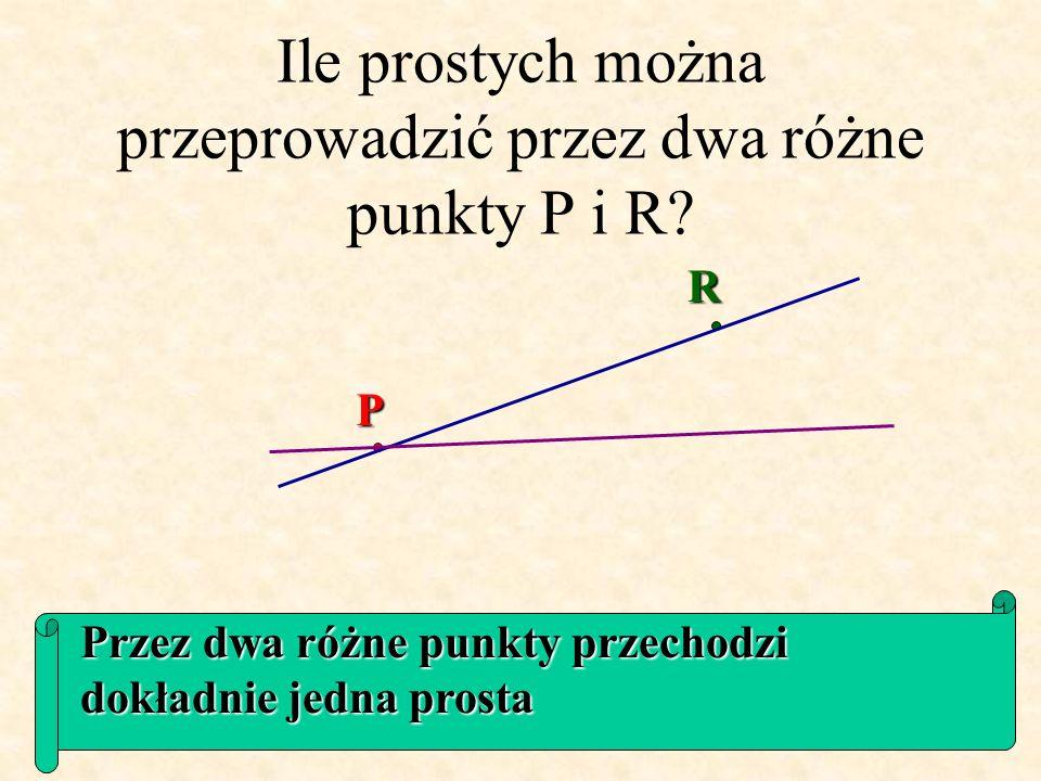 Ile prostych można przeprowadzić przez dwa różne punkty P i R