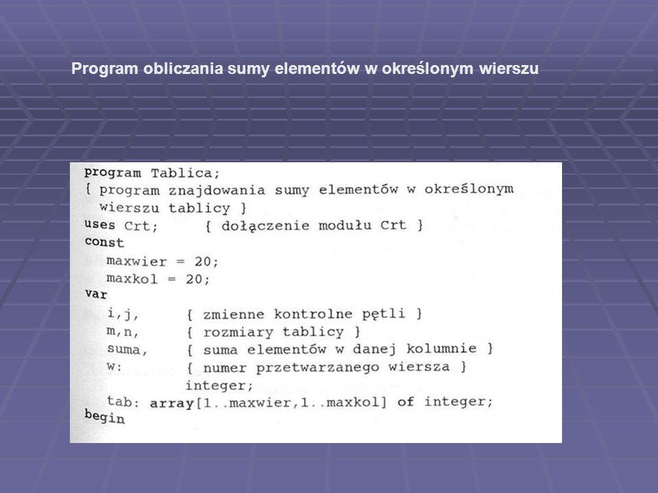 Program obliczania sumy elementów w określonym wierszu