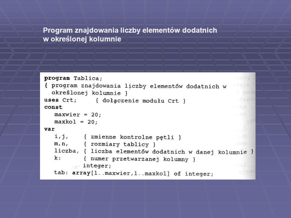 Program znajdowania liczby elementów dodatnich
