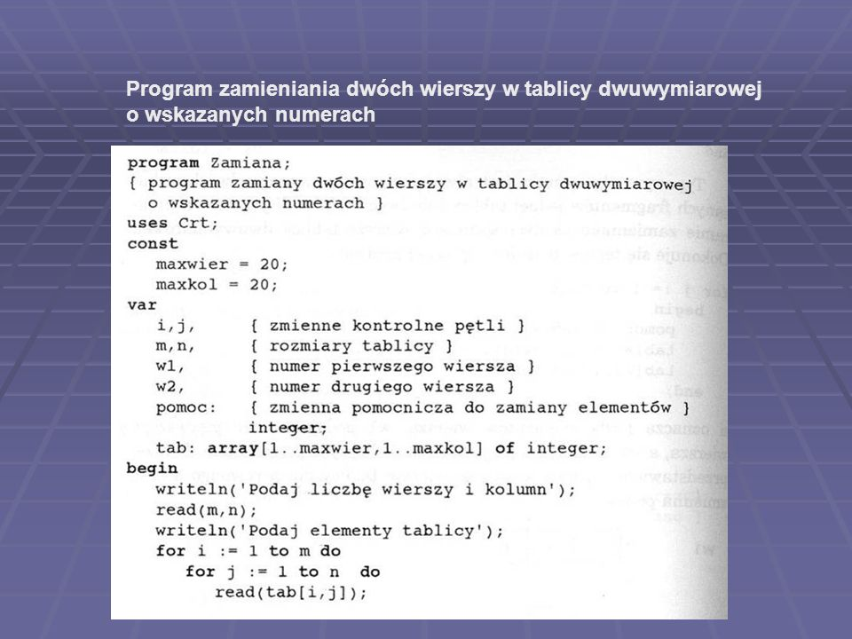 Program zamieniania dwóch wierszy w tablicy dwuwymiarowej
