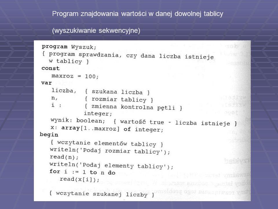 Program znajdowania wartości w danej dowolnej tablicy