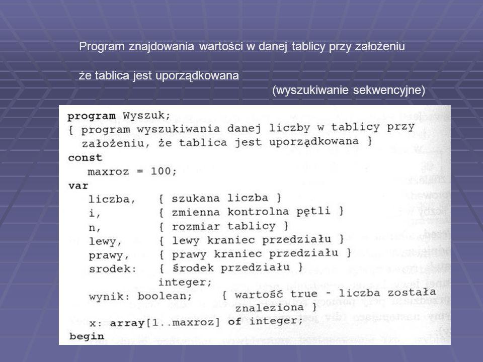 Program znajdowania wartości w danej tablicy przy założeniu