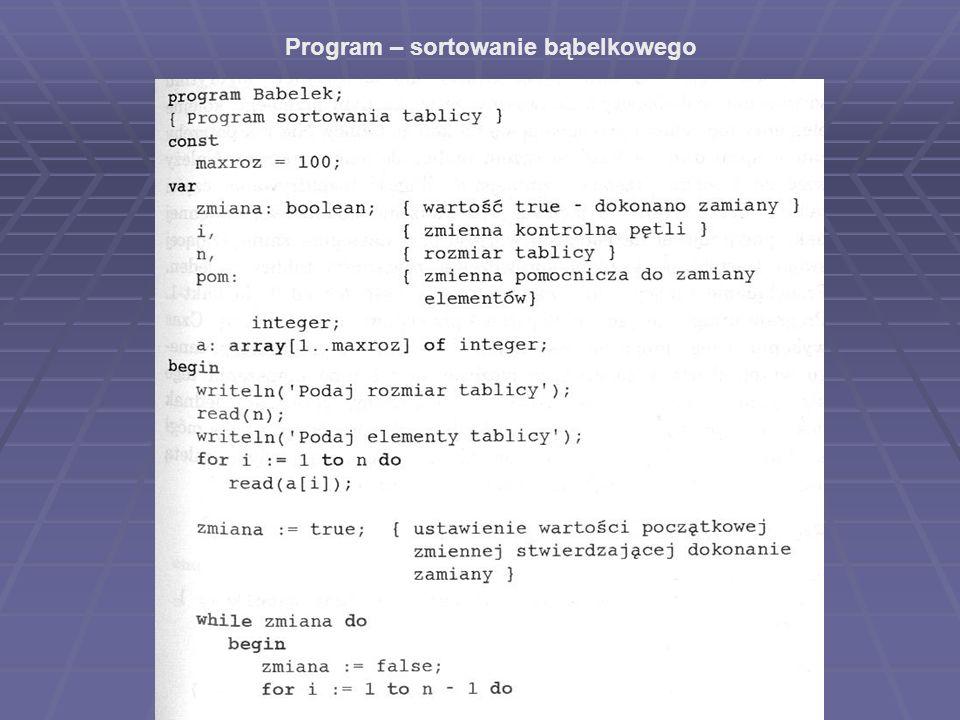 Program – sortowanie bąbelkowego