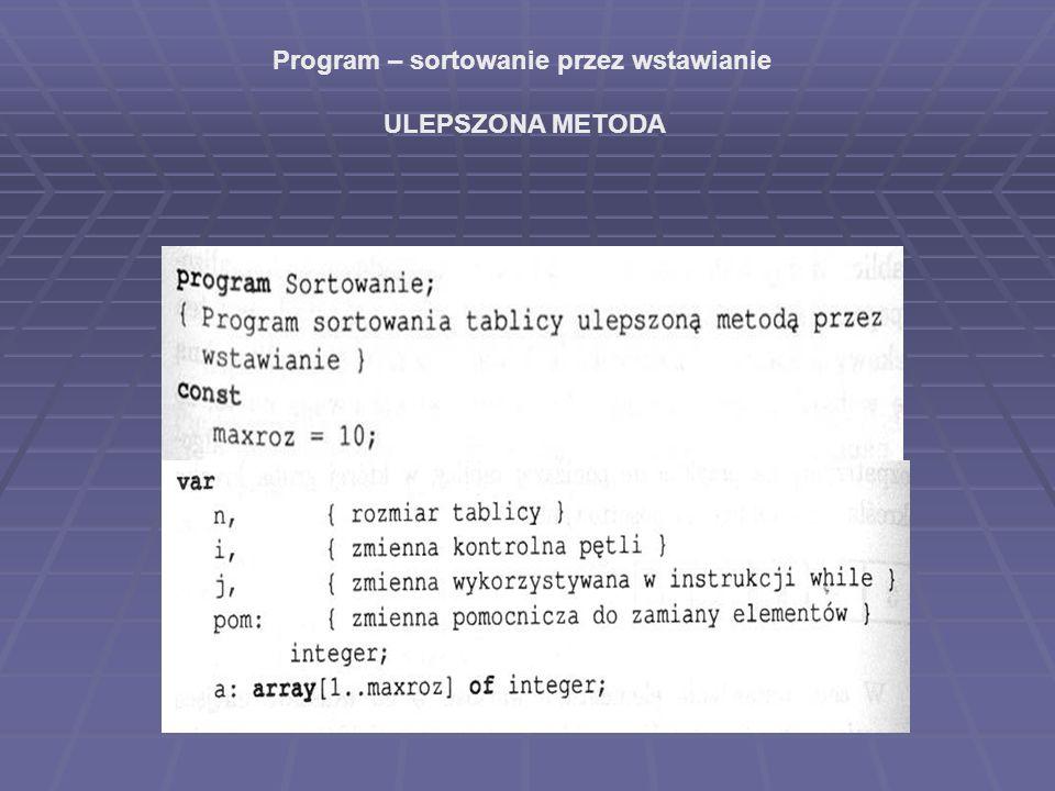 Program – sortowanie przez wstawianie