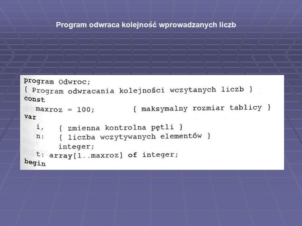 Program odwraca kolejność wprowadzanych liczb