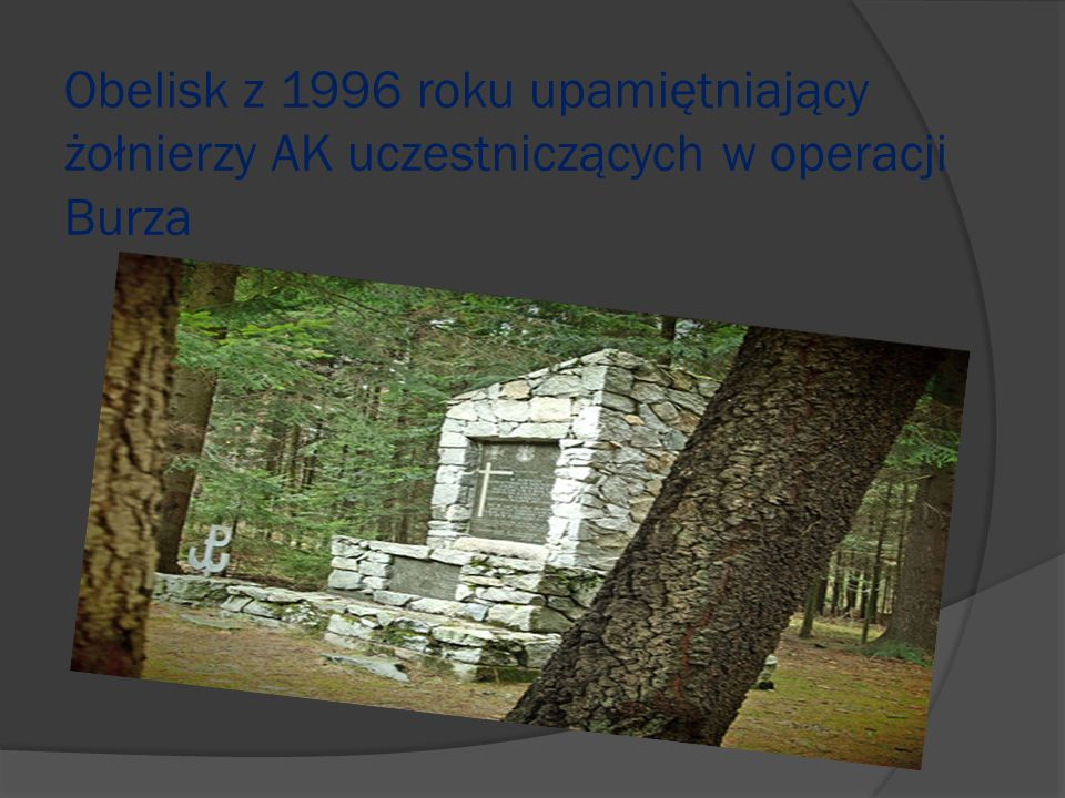 Obelisk z 1996 roku upamiętniający żołnierzy AK uczestniczących w operacji Burza