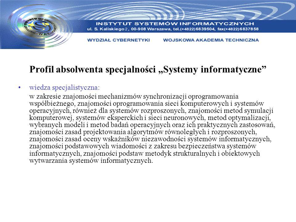 """Profil absolwenta specjalności """"Systemy informatyczne"""