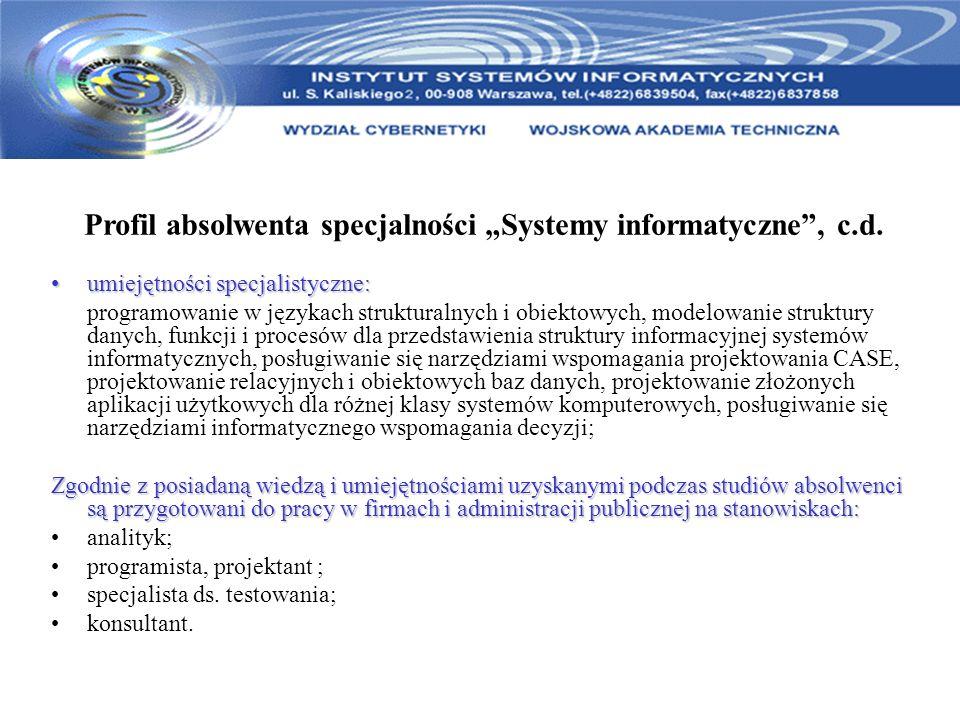 """Profil absolwenta specjalności """"Systemy informatyczne , c.d."""